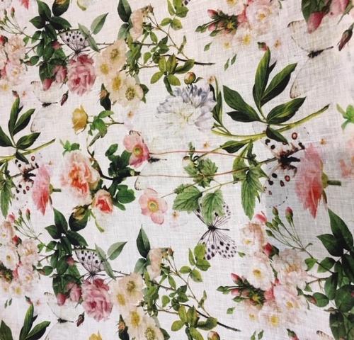 R4 pure linen print butterflies